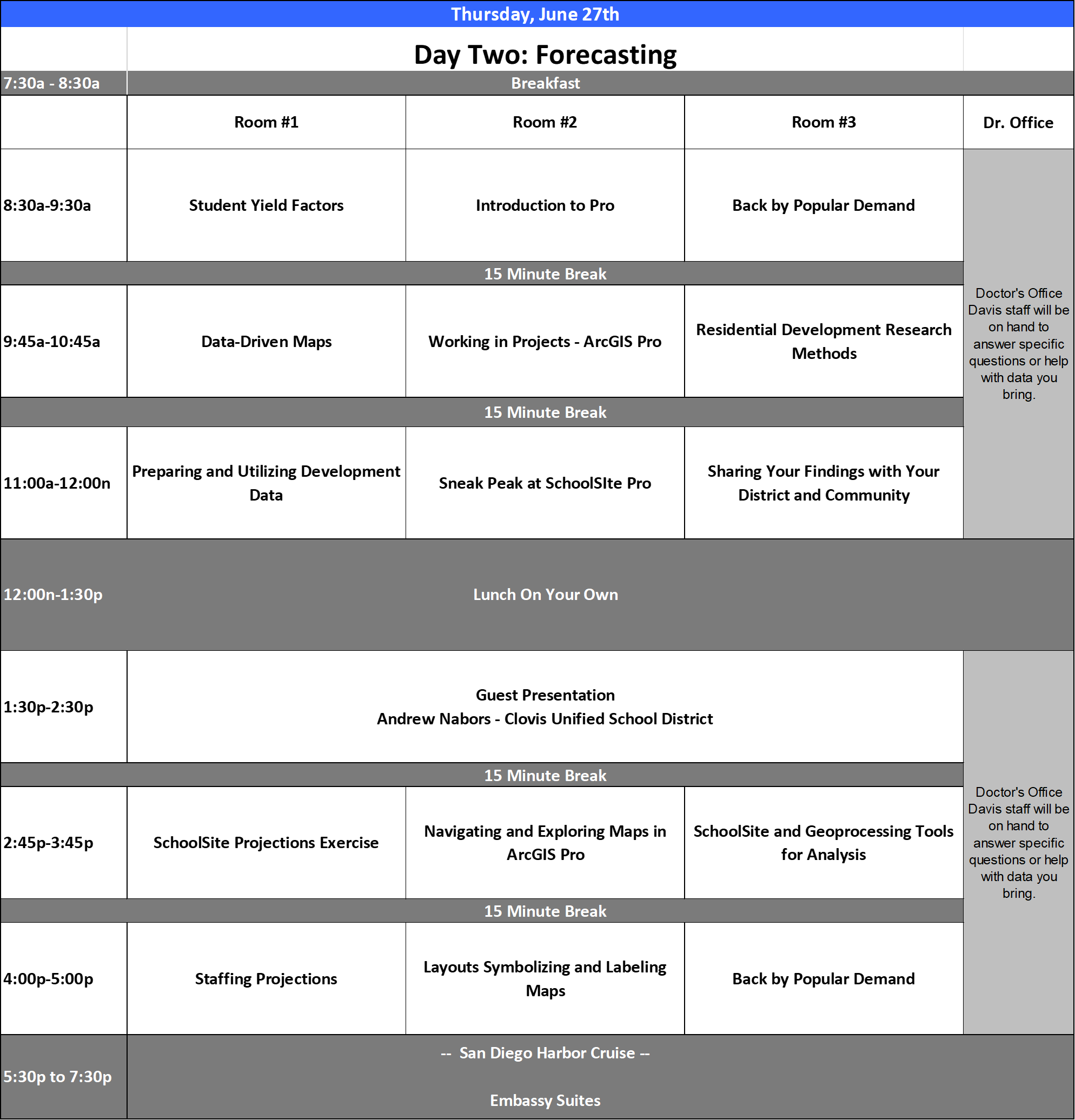 Draft Agenda for the 2019 School Planners Conference